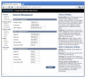 Network configuration page